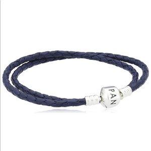 Authentic Pandora Leather Bracelet - Dark Blue